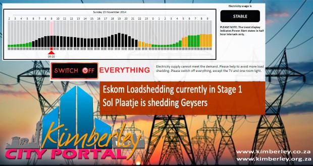 Sol Plaatje, Kimberley Loadshedding news. Eskom