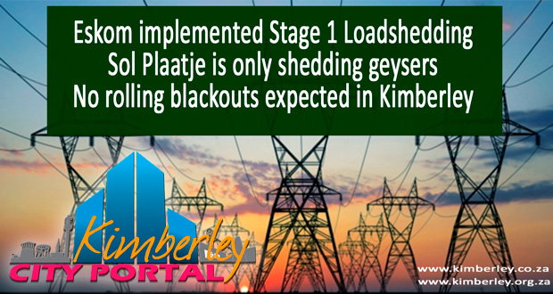 Kimberley Sol Plaatje Stage 1 loadshedding update no rolling bloackouts