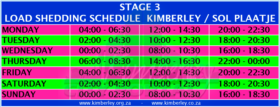 Kimberley Sol Plaatje Stage 3 Load Shedding Schedule
