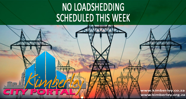 No loadshedding schedules in Kimberley Sol Plaatje Municipality this week - 02/12/2014