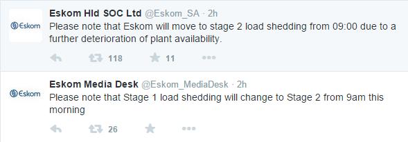 Eskom Loadshedding update 08/12/2014