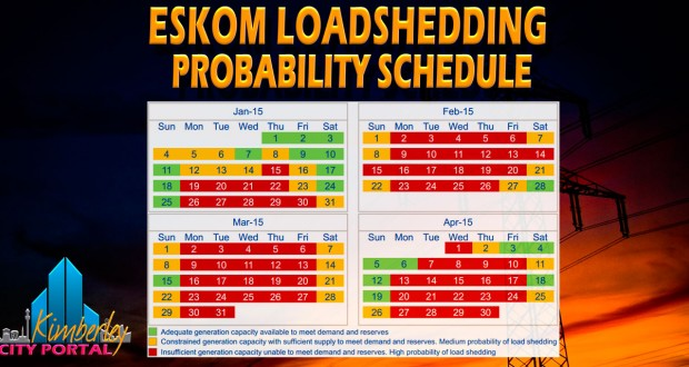 Eskom Loadshedding Probability Schedule January to April 2015
