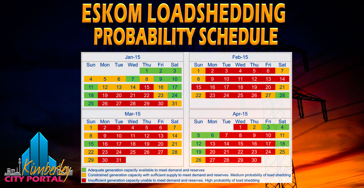 Load Shedding Schedule 2019: Eskom Loadshedding Probability Schedule Jan