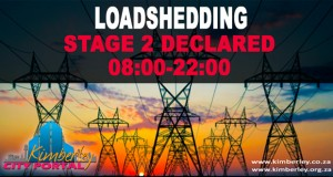 Stage 2 Loadshedding 8:00 to 22:00. Kimberley Sol Plaatje Municipality