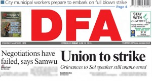 The DFA reports that Kimberley Sol Plaajtje workes are preparing for strike