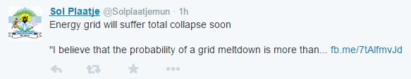 50% Chance of total collapse soon Tweet