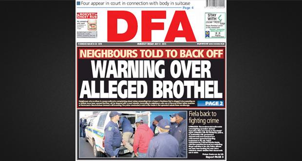 DFA, Warning on alleged Royldene Brothel