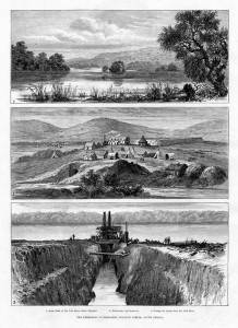 An engraving published in the Illustrated London News of January 1883 showing the Waterworks on the Vaal River