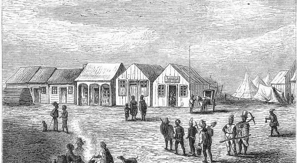 Pictured is the market in Dutoitspan circa 1872