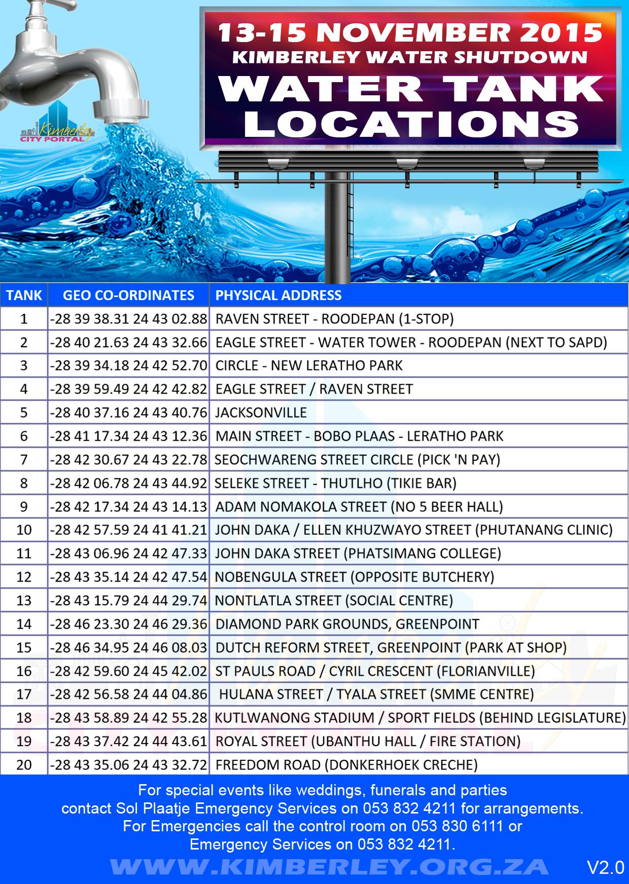 Static Water Tank Locations - Kimberley City Wide Water Shutdown 13-15 November 2015