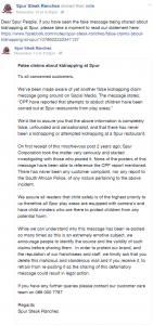 Spur Facebook Page No Kidnappings