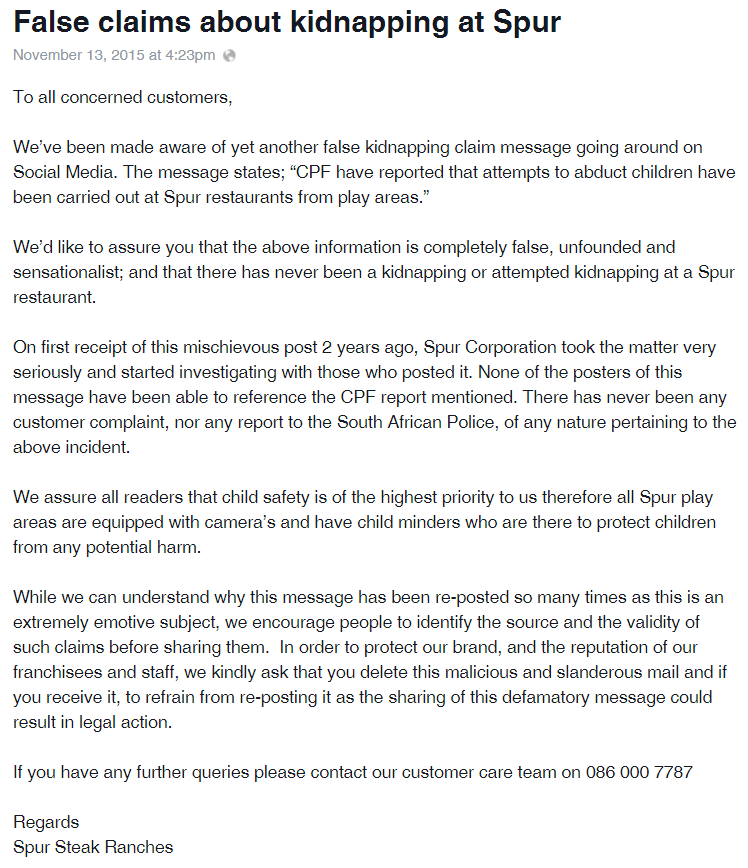 Media Release No Kidnappings At Spur