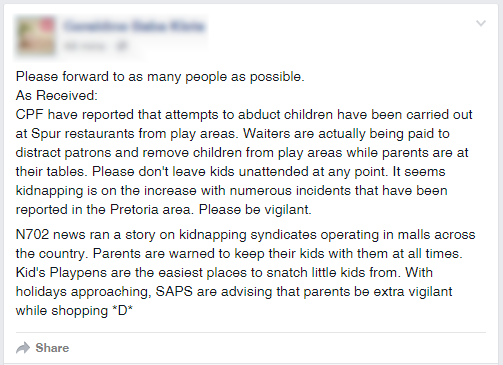 Copy a the false Spur Kidnapping Facebook Post