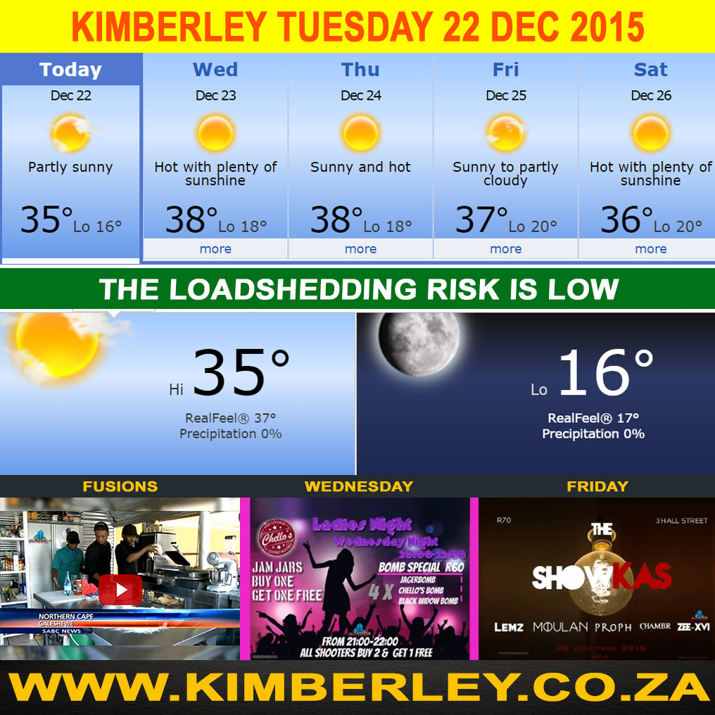 Today in Kimberley South Africa - Weather Loadshedding