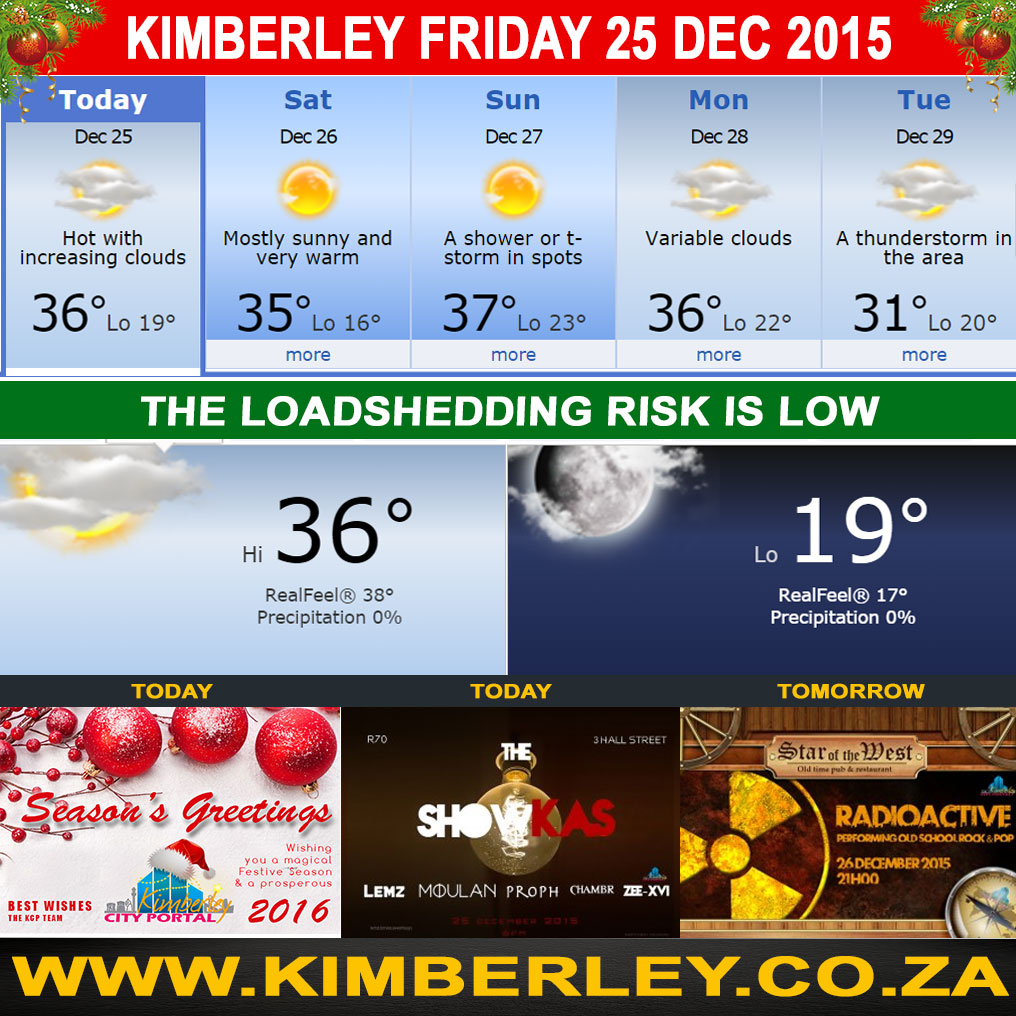 Today in Kimberley South Africa - Weather News Event 25/12/2015