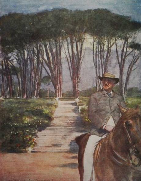 Painting of Rhodes on horseback at Groote Schuur by Mortimer Menpes
