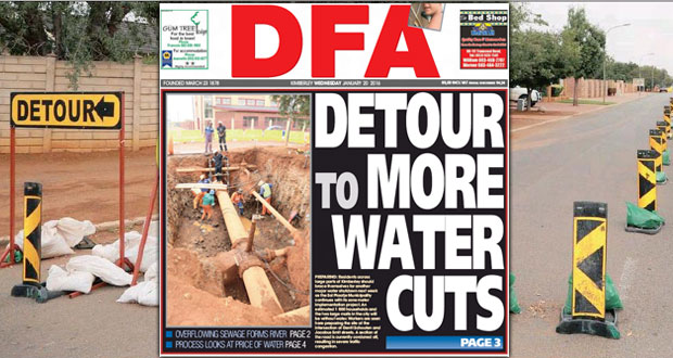 Detour to more water cuts - The DFA 20/01/2016
