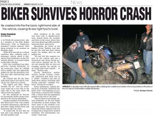 Biker Survives Horror Crash 6 Feb 2017 Diamond Fields Advertiser