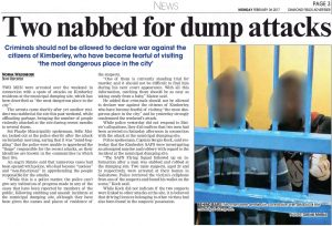 Two nabbed for dump attacks 6 Feb 2017 Diamond Fields Advertiser