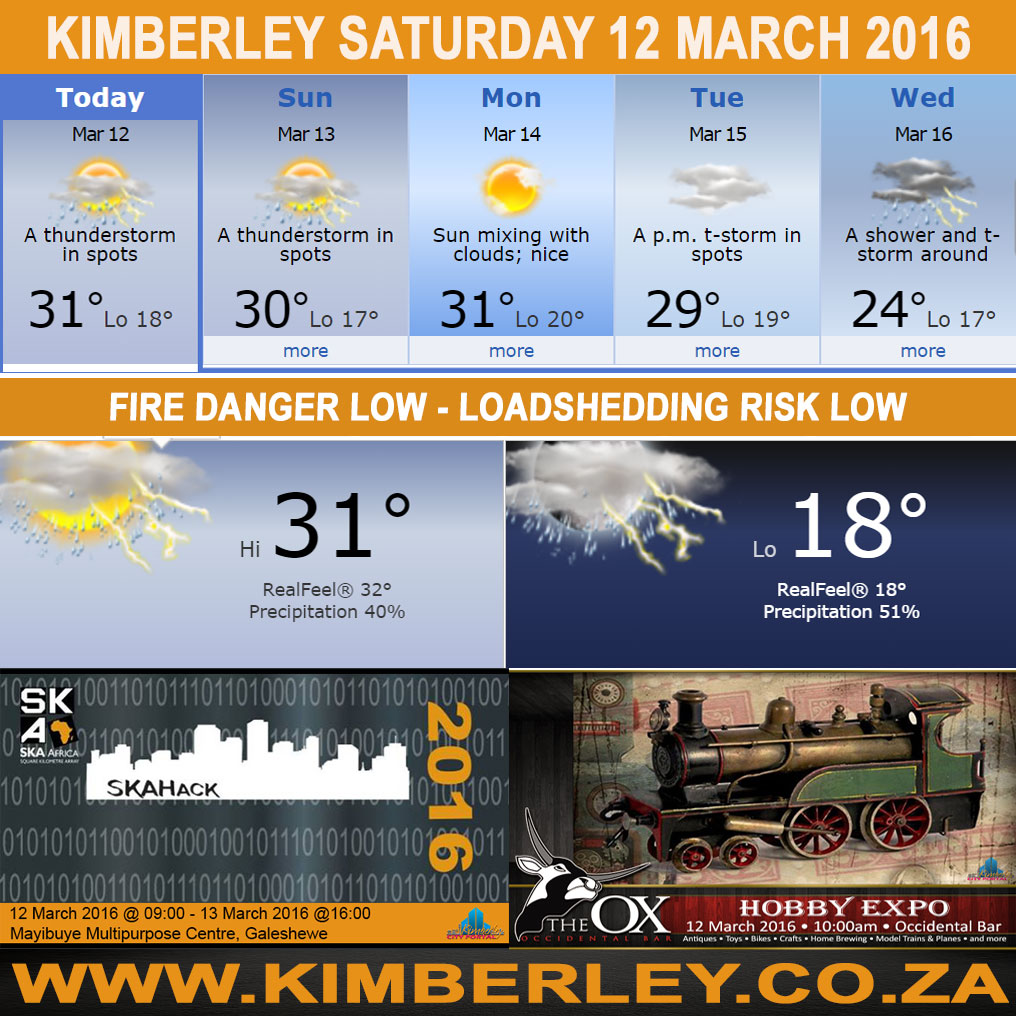 oday in Kimberley South Africa - Weather News Events 2016/03/12