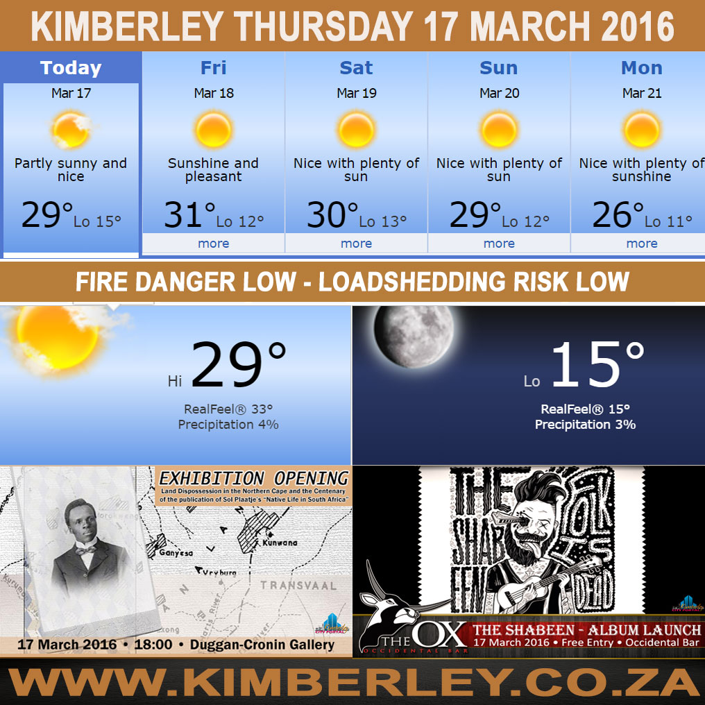 Today in Kimberley South Africa - Weather News Events 2016/03/17