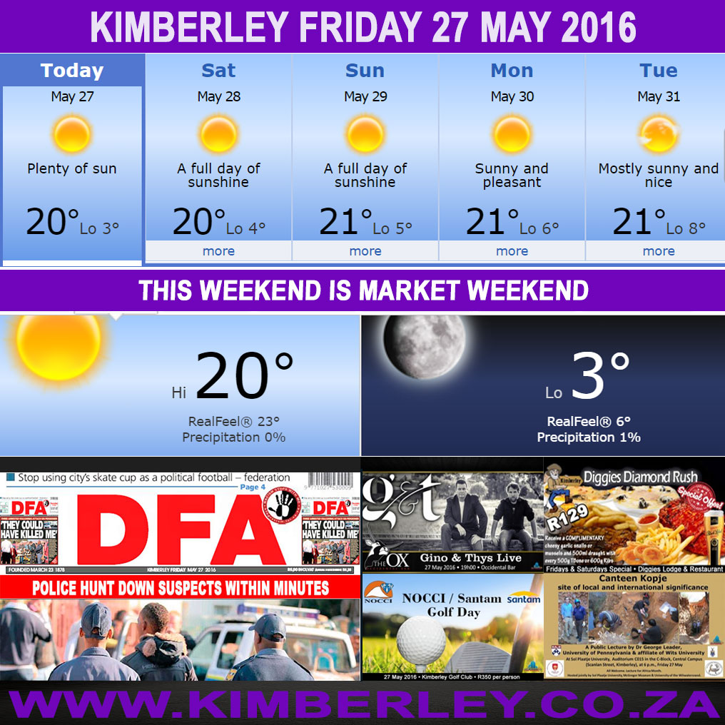 Today in Kimberley South Africa - Weather News Events 2016/05/27