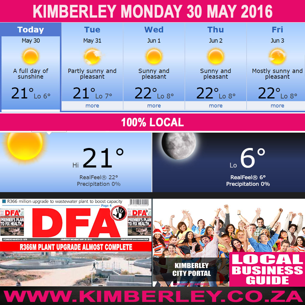 Today in Kimberley South Africa - Weather News Events 2016/05/30