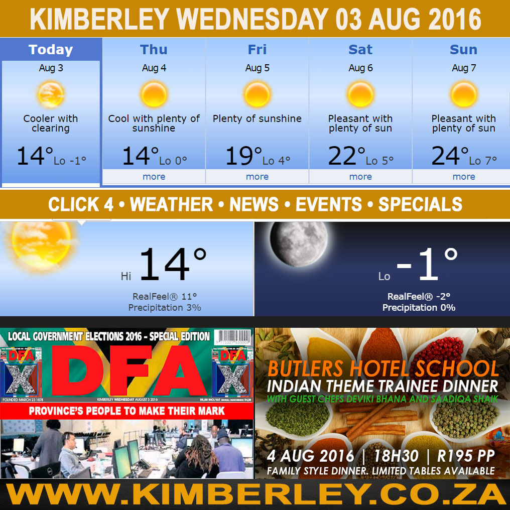 oday in Kimberley South Africa - Weather News Events 2016/08/03