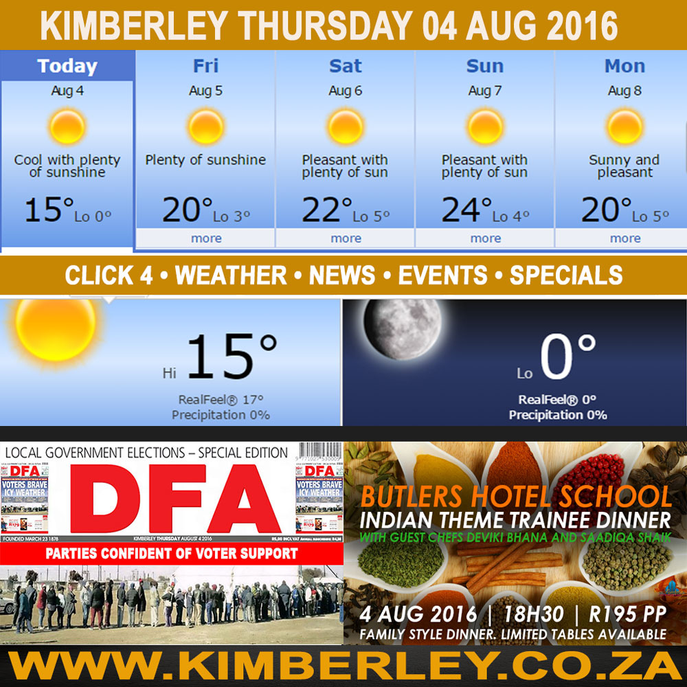 Today in Kimberley South Africa - Weather News Events 2016/08/04