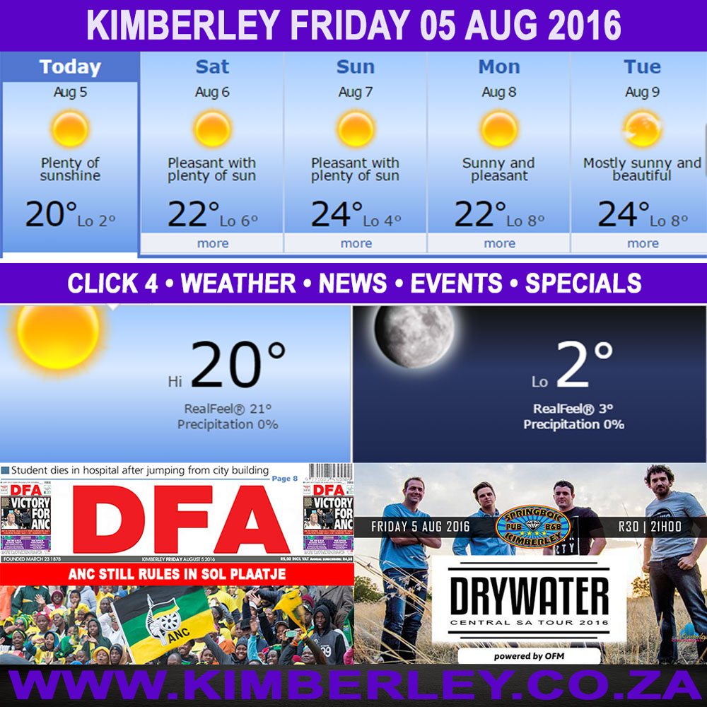 Today in Kimberley South Africa - Weather News Events 2016/08/05
