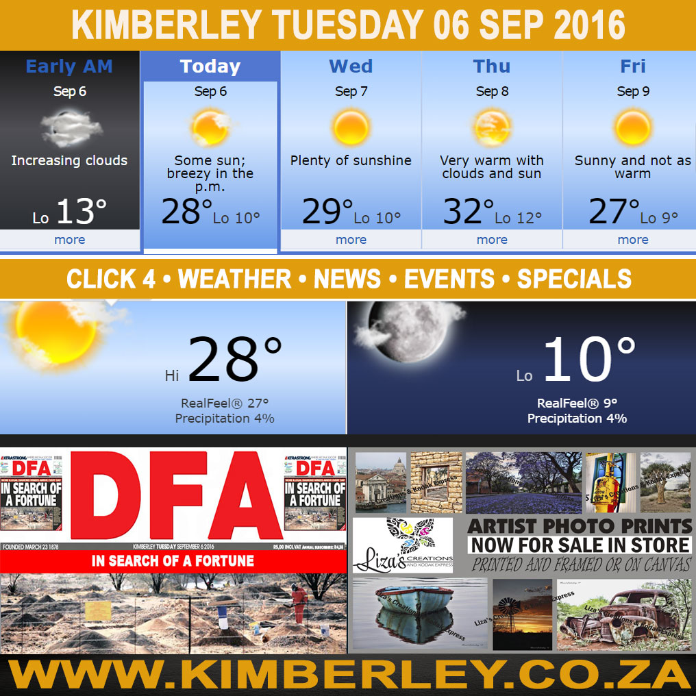 Today in Kimberley South Africa - Weather News Events 2016/09/06
