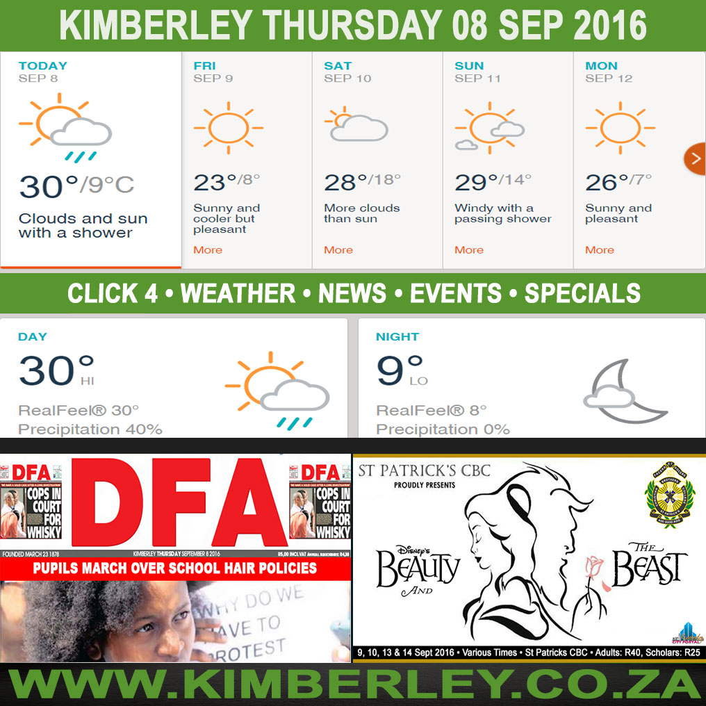 Today in Kimberley South Africa - Weather News Events 2016/09/08