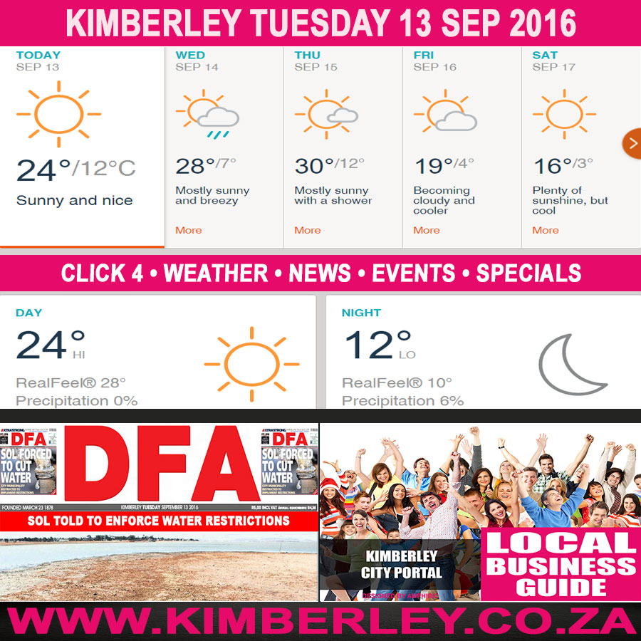 Today in Kimberley South Africa - Weather News Events 2016/09/13