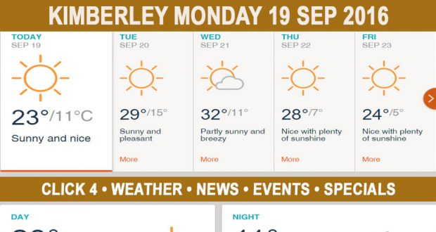 Today in Kimberley South Africa - Weather News Events 2016/09/19