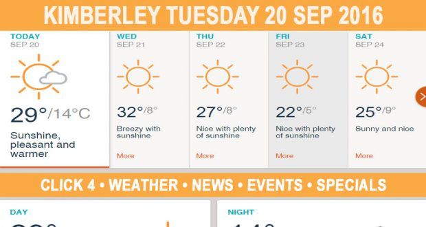 Today in Kimberley South Africa - Weather News Events 2016/09/20