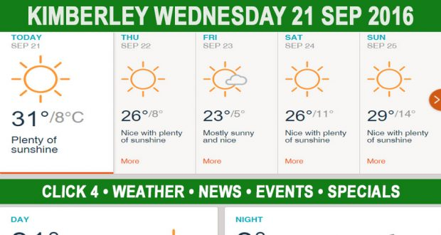 Today in Kimberley South Africa - Weather News Events 2016/09/21