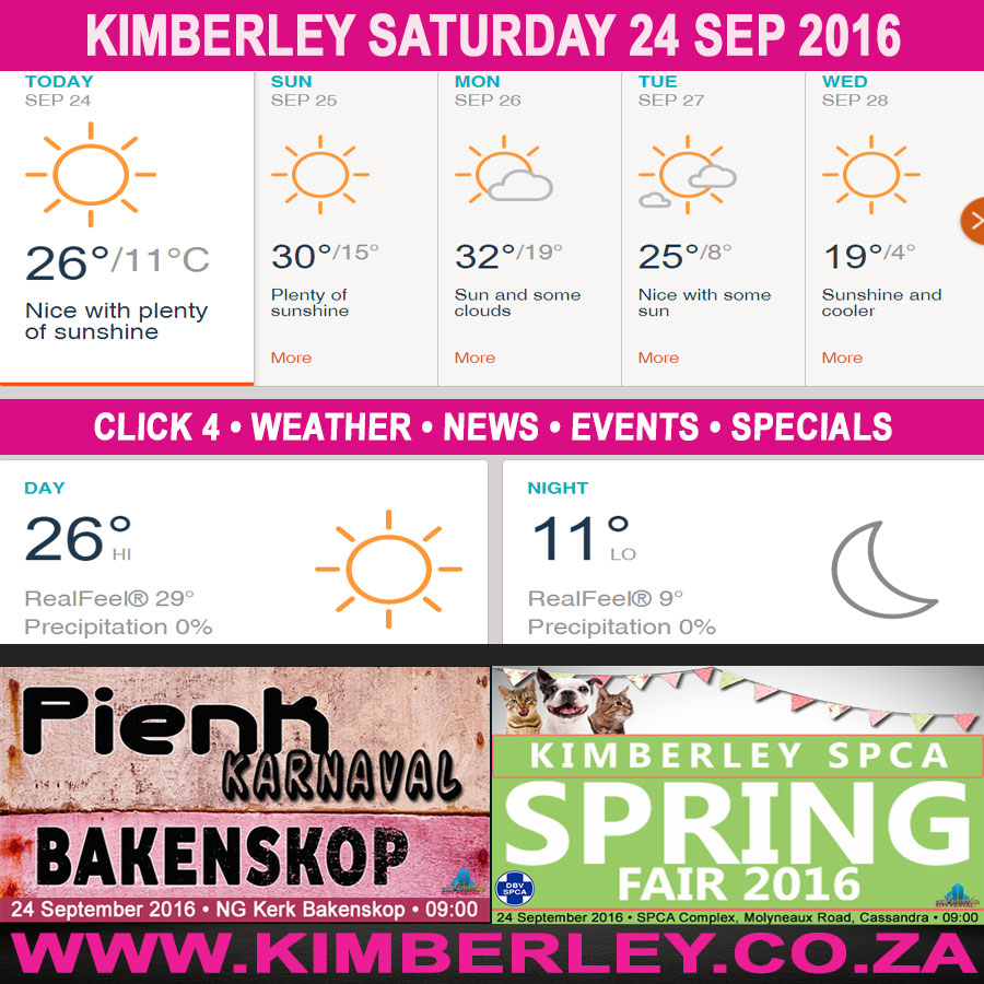 Today in Kimberley South Africa - Weather News Events 2016/09/24