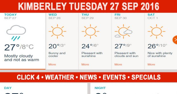 Today in Kimberley South Africa - Weather News Events 2016/09/27