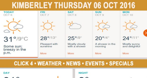 Today in Kimberley South Africa - Weather News Events 2016/10/06