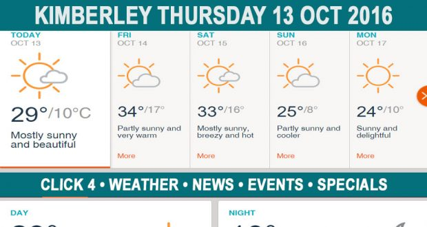 Today in Kimberley South Africa - Weather News Events 2016/10/13