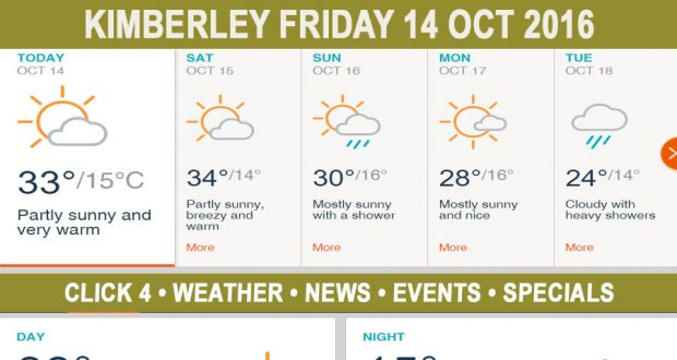 Today in Kimberley South Africa - Weather News Events 2016/10/14