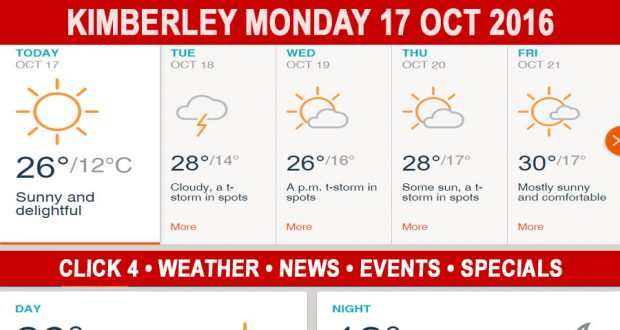 Today in Kimberley South Africa - Weather News Events 2016/10/17
