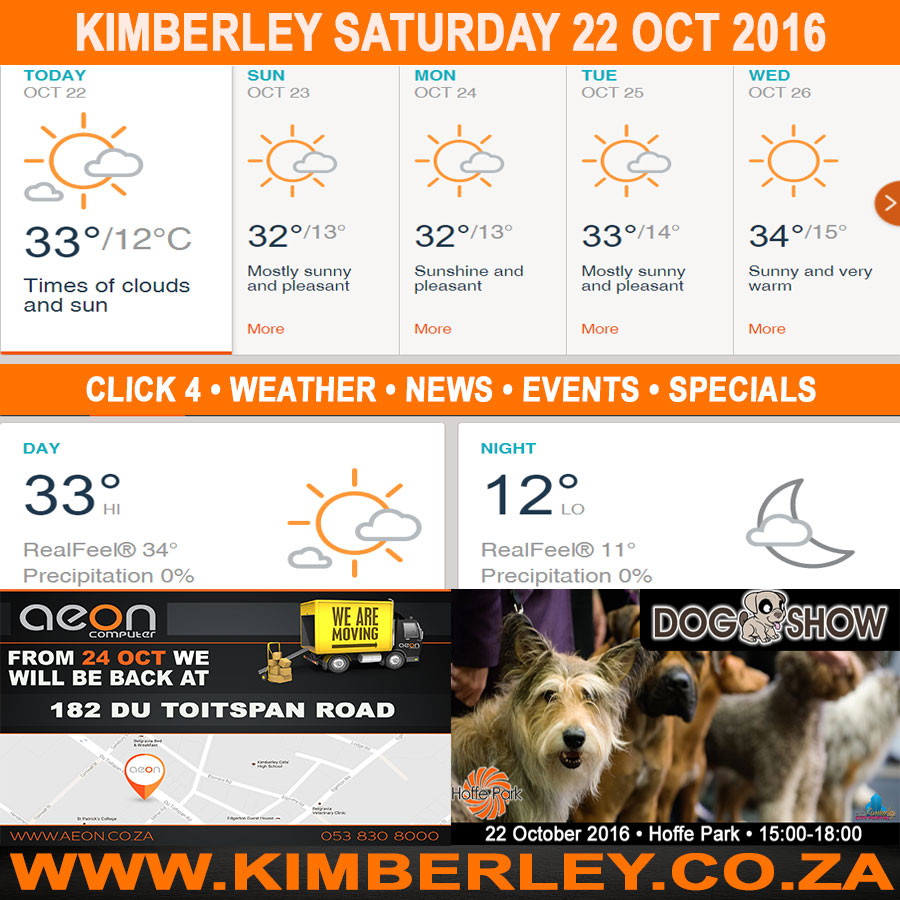 Today in Kimberley South Africa - Weather News Events 2016/10/22