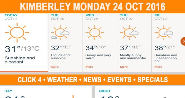 Today in Kimberley South Africa - Weather News Events 2016/10/24