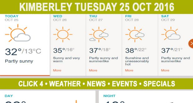 Today in Kimberley South Africa - Weather News Events 2016/10/25