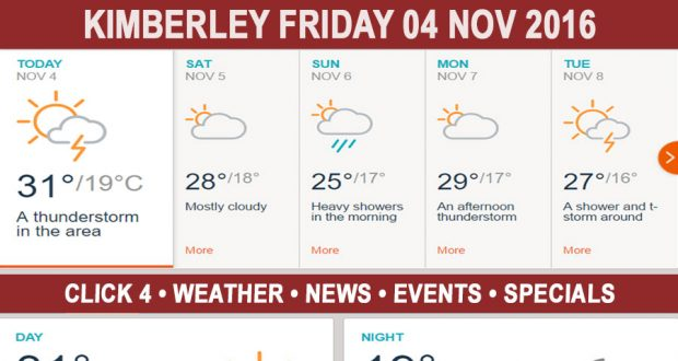 Today in Kimberley South Africa - Weather News Events 2016/11/04