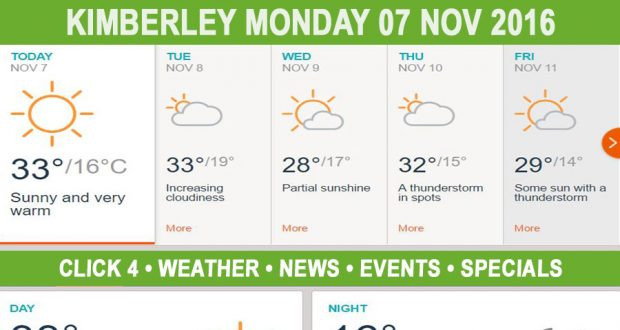 Today in Kimberley South Africa - Weather News Events 2016/11/07