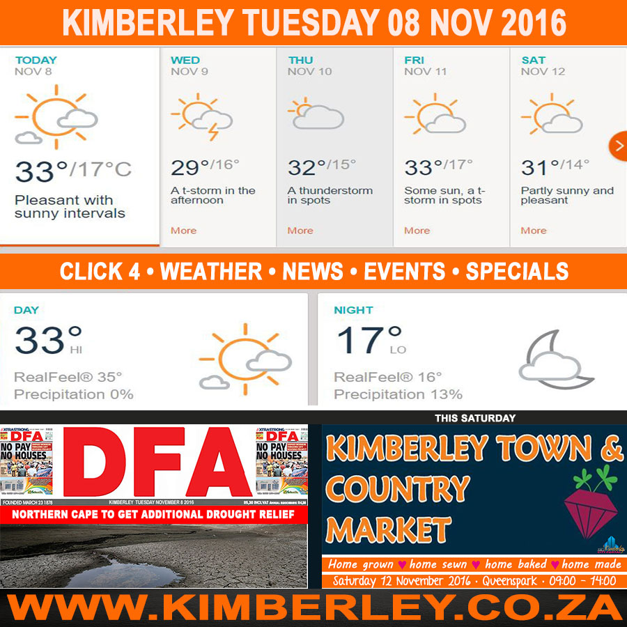 Today in Kimberley South Africa - Weather News Events 2016/11/08