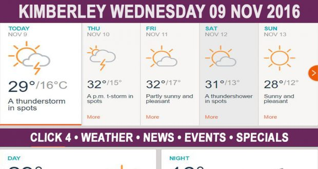 Today in Kimberley South Africa - Weather News Events 2016/11/09