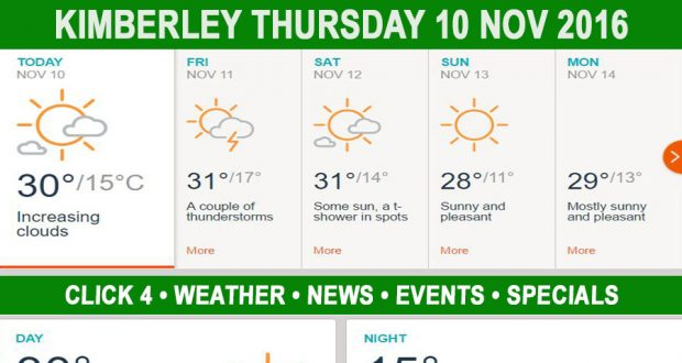 Today in Kimberley South Africa - Weather News Events 2016/11/10